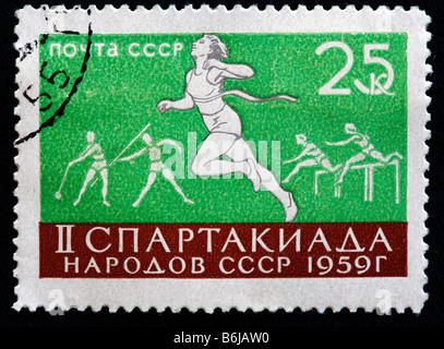 Athletics championship, postage stamp, USSR, 1959 - Stock Photo