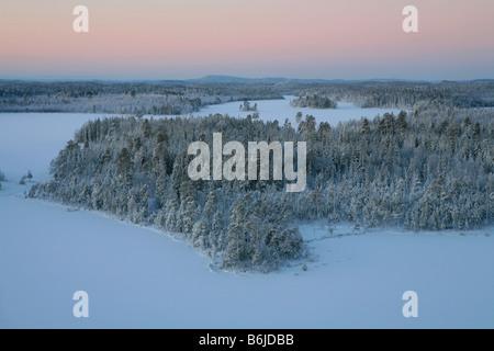 Panoramic view of a frozen lake in Chupa, Karelia, Russia - Stock Photo