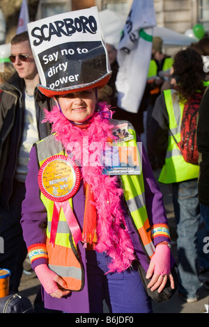 Protestors at a climate change rally in London December 2008 - Stock Photo