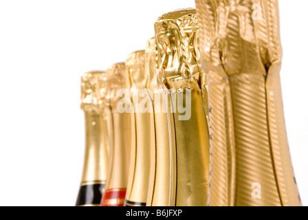 A group of Champagne bottle necks 'no branding' - Stock Photo