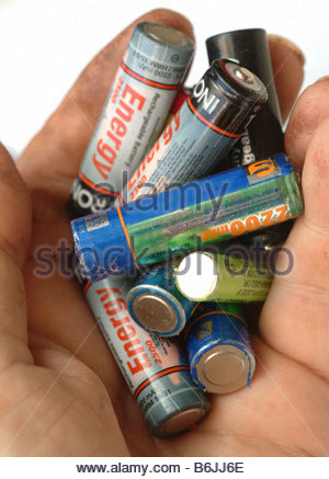 Battery batteries rechargeable AA LR6 - Stock Photo