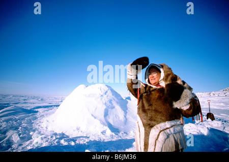 North America, Arctic, Canada, Manitoba, Churchill. Native Inuit woman, dressed in traditional attire