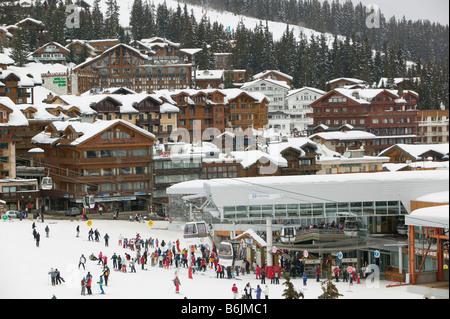 FRANCE, French Alps (Savoie), COURCHEVEL 1850: Skiers / Le Croisette Area / Winter - Stock Photo