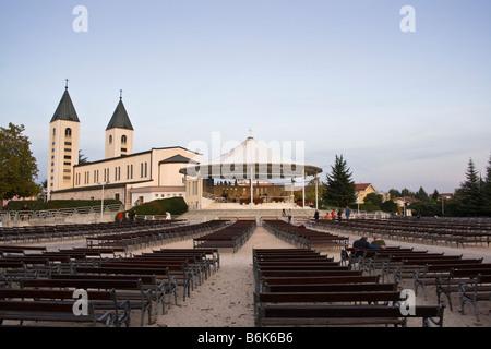 BOSNIA & HERZEGOVINA, MEDUGORJE. Outside mass area behind the church of St James in Medjugorje - Stock Photo