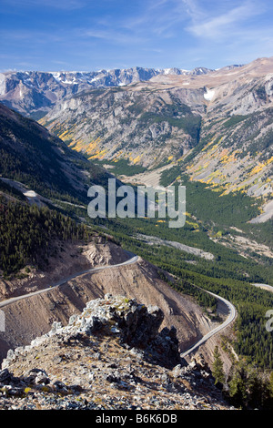 The Beartooth Scenic Byway (Rt. 212) crosses Beartooth Pass (10,947') between Cooke City, Wyoming, and Red Lodge, - Stock Photo