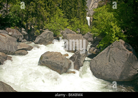 CALIFORNIA - The Merced River below Vernal Fall in Yosemite National Park. - Stock Photo
