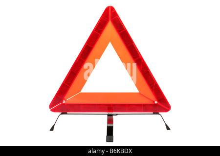 Hazard warning triangle isolated on a white background - Stock Photo