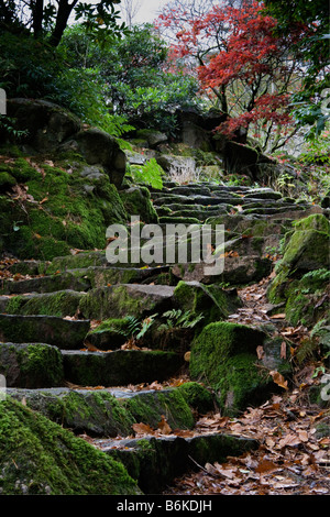 Japanese garden at Giggle Alley in Eskdale - Stock Photo