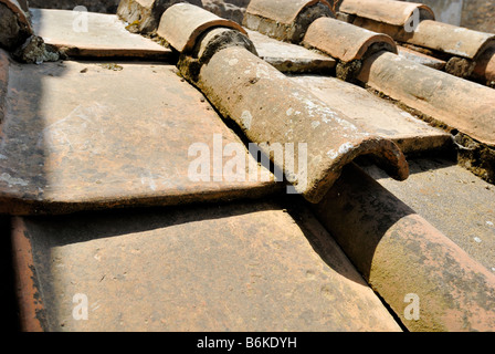 At Pompeii the houses were roofed with tiles There were two shapes of roof tiles, flat and semicylindrical tiles, - Stock Photo