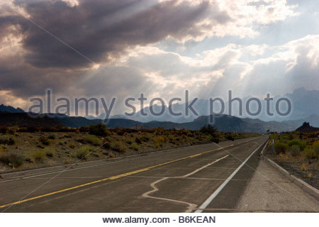 Highway 168 Two Lane Road Leading Up to Bishop Creek Canyon Eastern Sierra California - Stock Photo