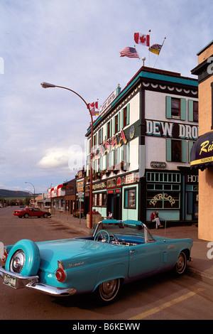 A 1956 Ford Thunderbird Convertible parked outside the 'Alaska Hotel', Dawson Creek, Northeastern BC, British Columbia, - Stock Photo