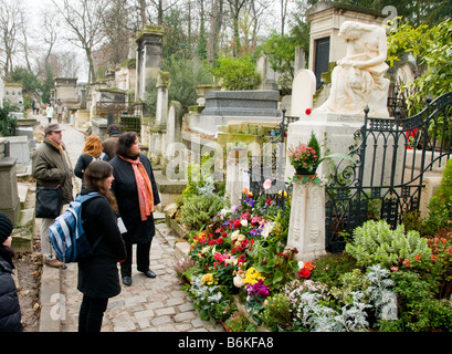 The grave of Frederic Chopin in Pere Lachaise cemetery in Paris France - Stock Photo
