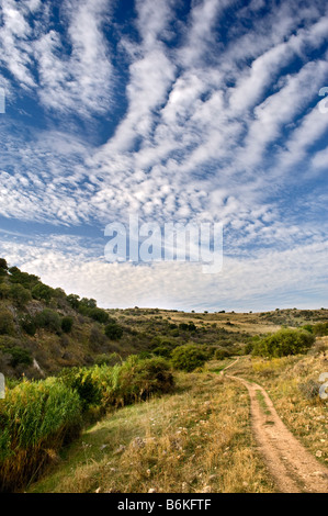 lonley path in a valley in vadi nachal amud Galilee Isreal - Stock Photo