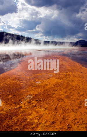 Grand Prismatic Spring, Midway Geyser Basin, Yellowstone National Park, Wyoming, USA - Stock Photo