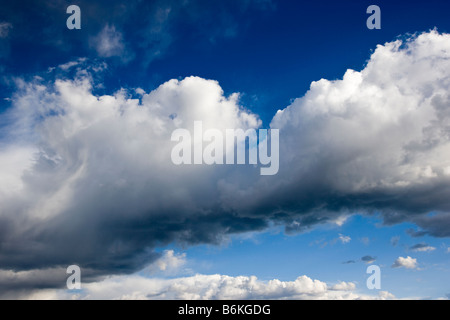Dramatic sky and clouds, Black Sand Basin, Yellowstone National Park, Wyoming, USA - Stock Photo