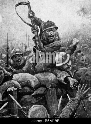 Contemporary World War One illustration of French soldiers storming a German trench. - Stock Photo