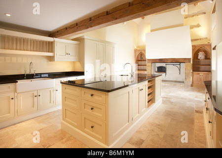 Modern Kitchen Old House kitchen sink with granite worktops in a brand new kitchen stock