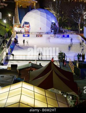 The Winter Wonderland Outdoor Ice Rink, Princes Street Gardens, City of Edinburgh, Scotland.