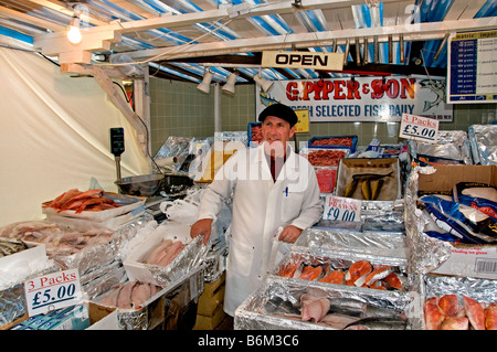 Portobello Road Market Notting Hill London Fish Monger G Piper and Son - Stock Photo