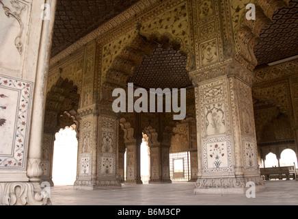 Interior of The Diwan-i-am Palace (Hall of Public Audiences) inside Agra Fort, Uttar Pradesh, India. - Stock Photo