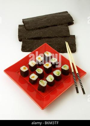 Nori seaweed and sushi - Stock Photo