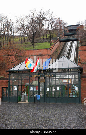 Hungary Budapest entrance to the Siklo funicular railway - Stock Photo