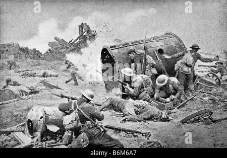 Contemporary World War One illustration of Canadian troops in action in France during the Battle of the Somme. - Stock Photo