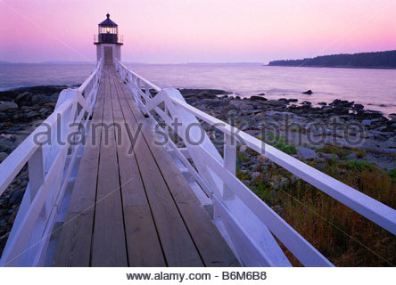 Marshall Point Light lighthouse originally constructed in 1832 rebuilt 1857 Penobscot Bay Maine - Stock Photo