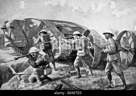 Contemporary World War One illustration of British troops going into battle alongside a tank for the first time - Stock Photo