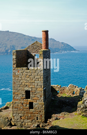 an old cornish tin mine at botallack in penwith,cornwall,uk - Stock Photo
