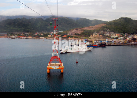 The port of Nha Trang, capital of Khánh Hòa province,South Central Coast of Vietnam, from Vin Pearl Cable Car - Stock Photo