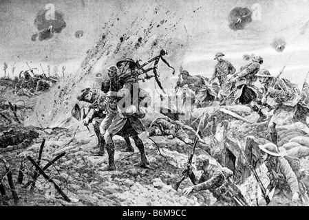 Contemporary World War One illustration of Scottish soldiers playing bagpipes under enemy fire during the Battle - Stock Photo