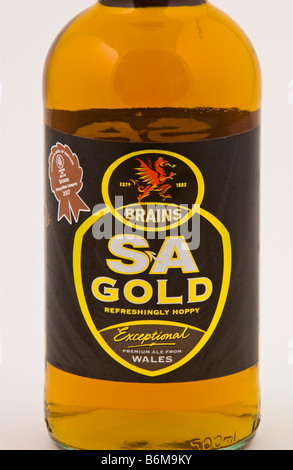 Bottle of Brains SA Gold beer brewed by SA Brain at The Cardiff Brewery Cardiff South Wales UK - Stock Photo