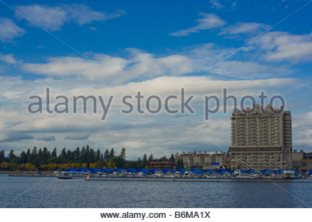 Autumn view from Tubbs Hill of the Coeur d Alene Resort and marina inside of the worlds longest floating boardwalk - Stock Photo