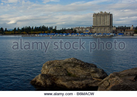 Autumn view from Tubbs Hill of the Coeur d Alene Resort and marina inside of the worlds longest floating boardwalk. - Stock Photo