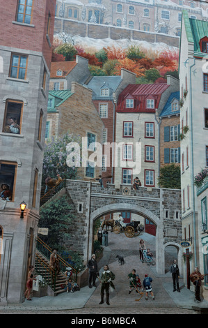 Wall painting in quebec city canada stock photo royalty for Mural quebec city