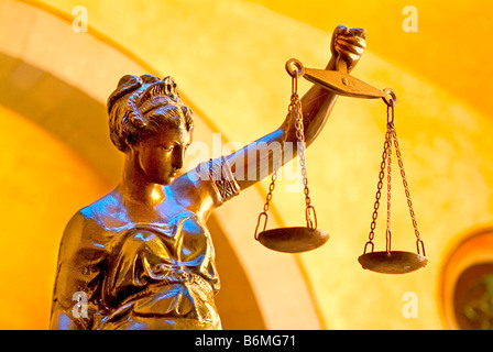 Statue of Lady Justice holding scales of justice Queretaro state of Guanajuato Mexico - Stock Photo