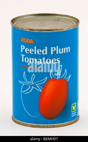 Can of Asda Peeled Plum Tomatoes in tomato juice sold in the UK - Stock Photo