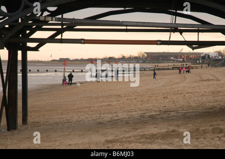 cleethorpes north east Lincolnshire beach seaside town pier cold winter day rundown seaside sea side coast day out - Stock Photo