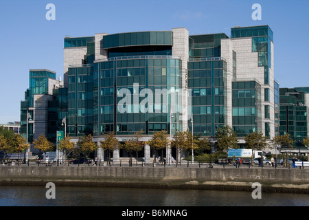 International Centre of the Allied Irish bank in Dublin at Custom House Quay, on the banks of the Liffey. - Stock Photo