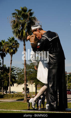 J Seward Johnsons painted aluminum sculpture called Unconditional Surrender  Bayside in Sarasota Florida USA - Stock Photo