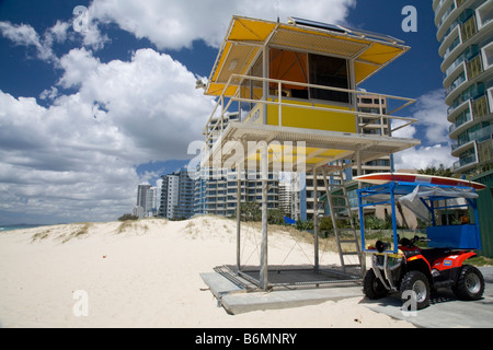 Surf rescue lifeguard tower and surf buggy on Gold coast beach,Queensland,Australia - Stock Photo