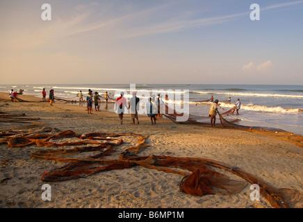 Fishermen Landing their Catch on Arambol Beach, Goa, India - Stock Photo