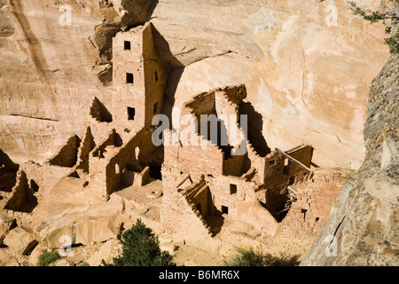 Square Tower House, Mesa Verde National Park in Colorado, USA - Stock Photo