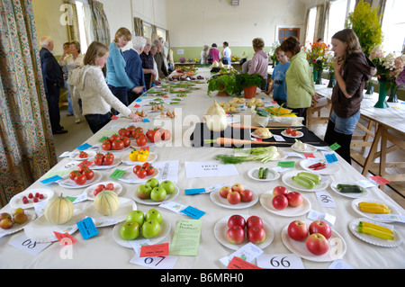 Display of fruit and vegetables at a village horticultural show, Gatehouse of Fleet, Dumfries & Galloway, Scotland - Stock Photo