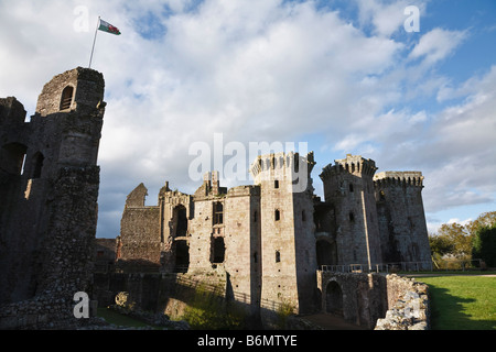 The Great Tower and Gatehouse, Raglan Castle, Monmouthshire, Wales - Stock Photo