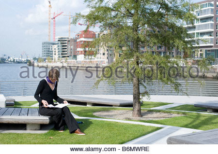 marco polo terraces view to dalmannkai hafencity hamburg stock photo royalty free image. Black Bedroom Furniture Sets. Home Design Ideas