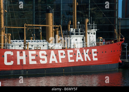 Research ship docked in front of the National Aquarium in the Inner Harbor in downtown Baltimore Maryland - Stock Photo