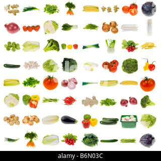 huge vegetable collection isolated on a white background all pieces individually photographed in studio - Stock Photo