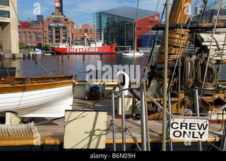 Tall ship at the Inner Harbor in downtown Baltimore Maryland - Stock Photo